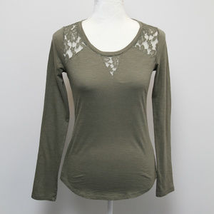 Maurices green long sleeve blouse with lace XS